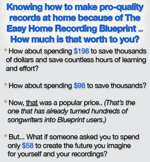 Home recording blueprint savings